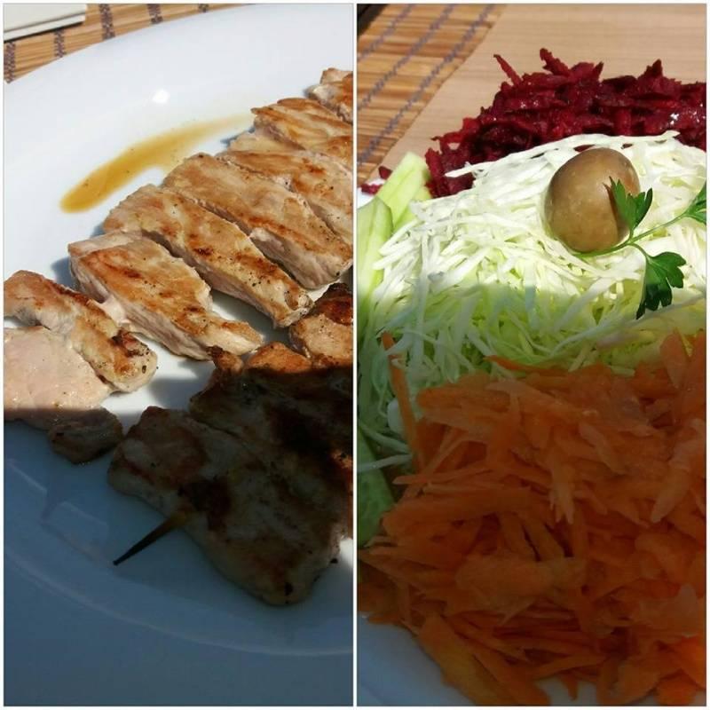 Ручек - Свинско со свежа салата од морков, цвекло и зелка